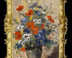 Pictura cu flori de camp multicolore, Tablou cu flori de maci rosii in vaza, tablou cu aranjament floral cu flori de mac
