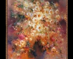 Pictura cu flori difuze, Tablou cu flori delicate, tablou cu flori diafane, tablou cu buchet de flori, Tablou floral, aranjamente  florale
