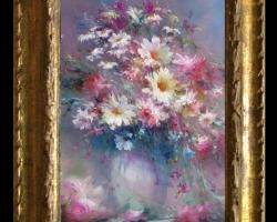 Pictura cu garofite roz si margarete albe, Tablou cu flori delicate, tablou cu flori diafane, tablou cu buchet de flori, Tablou floral, aranjamente  florale