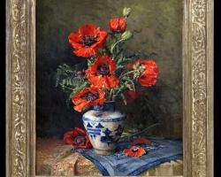 Pictura cu maci in vas de lut pictat, Tablou cu flori de maci rosii in vaza, tablou cu aranjament floral cu flori de mac, Tablou floral, aranjamente