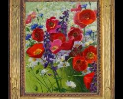Pictura cu maci si margarete pe camp, Tablou cu flori de maci rosii in vaza, tablou cu aranjament floral cu flori de mac, Tablou floral