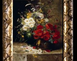 Pictura cu margarete, Tablou cu flori de maci rosii in vaza, tablou cu aranjament floral cu flori de mac, Tablou floral, aranjamente florale