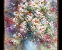 Pictura cu margarete, Tablou cu flori delicate, tablou cu flori diafane, tablou cu buchet de flori, Tablou floral, aranjamente  florale