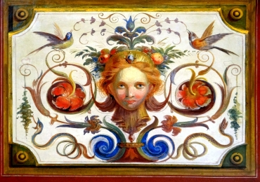 Pictura din Vatican, reproducere cu chip de femeie pasari si flori, pictura pe fresca, pictura decorativa de perete