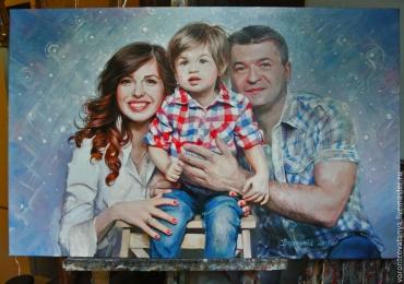 Pictura la comanda, pictura pe panza in ulei, Tablouri pictate personalizate, portret de familie, portret  parinti cu copii
