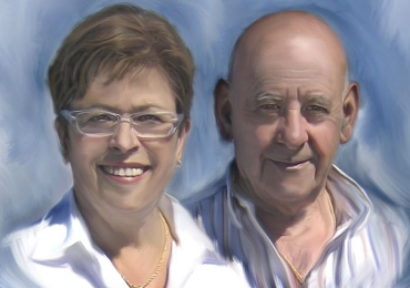 Pictura portret la comanda, Tablouri pictate manual, portret de bunici