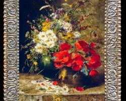 Pictura romantica cu flori de camp, Tablou cu flori de maci rosii in vaza, tablou cu aranjament floral cu flori de mac, Tablou floral, aranjamente