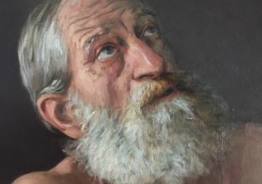Picturi realizate la comanda speciala, Tablouri pictate personalizate, portret de barbat cu barba carunta