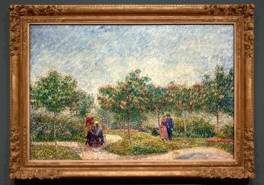Picturile lui Vincent van Gogh, pictură Cuples in the Park d'Argenson 1877 tablou peisaj de vara, Tablou cu parc, Reproduceri pictori celebri