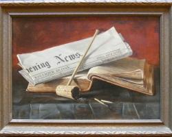Pictutra cu Pipa, ziar si carte Tablou natura moarta, tablou pictat manual in ulei pe panz