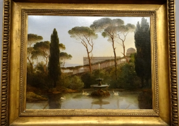 Pierre Athanase Chauvin A pond with swans at Tivoli, Tablou cu peisaj de vara, tablou cu lac langa padure, peisaj din natura, tablou cu lebede, tablou cu fantana arteziana