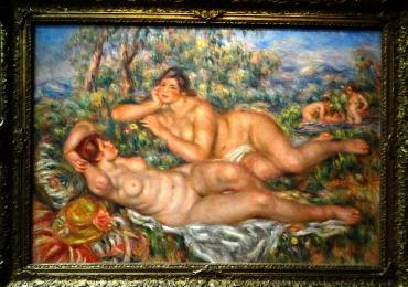 Pierre Auguste Renoir, Les Baigneuses, tablou peisaj de vara cu femei nud, Tablouri Pictori Celebri, Reproduceri Picturi Celebre