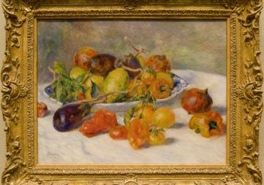Pierre Auguste Renoir, tablou natura moarta cu legume pe masa, tablou cu natura statica