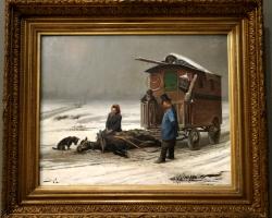 Pierre Marie Beyle, The last resting place of Coco, tablou peisaj de iarna, Tablou dramatic, Reproduceri Picturi Celebre