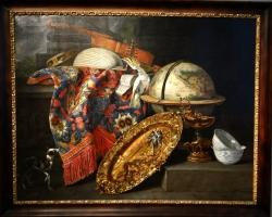 Pieter Boel, Still life with globe and a cockatoo, Tablouri cu natura moarta Realizate la Comand