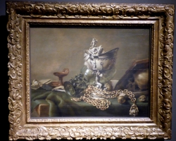 Pieter Claesz, Vanitas with Nautilus Goblet 1634, Tablouri cu flori Realizate la Comanda, Reproduceri Picturi Celebre cu flori, Tablouri Faimoase
