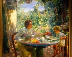 Plinio Nomellini First read,, tablou peisaj de vara cu femei in gradina casei, Tablouri Pictori Celebri, Reproduceri Picturi Celebre