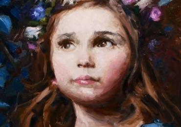 Portret abstract la comanda pictat manual in ulei pe panza. Portrete cu copii