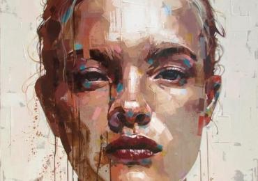 Portret abstract la comanda, tablou pictat manual in ulei pe panza. Portret de femei