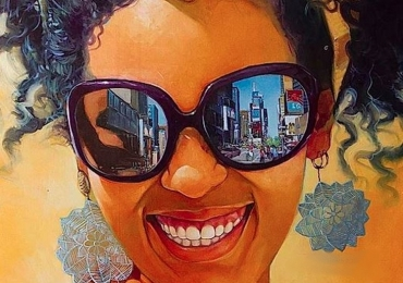 Portret abstract multicolor pictat manual in ulei pe panza pret manopera