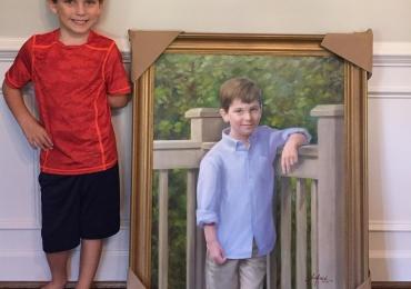 Portret baiat. Manopera pictura manuala in ulei pe panza. Prtrete copii