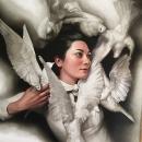 Portret de femeie, portret pictat manual in ulei