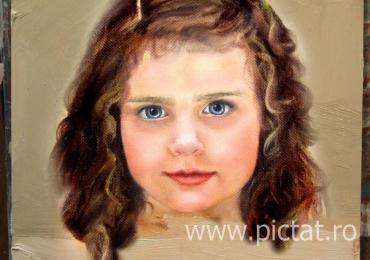 Portret bust la comanda pictat manual in ulei pe panza. Portrete cu copii