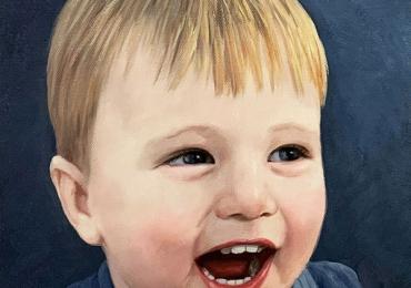 Portret cu baietel, portret pictat la comanda, portrete bust, portret dupa fotografie, portret de copil dupa poza
