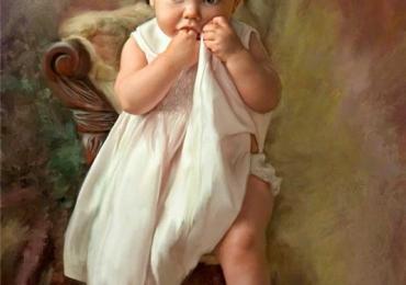 Portret cu bebelus, Tablouri la comanda sibiu, portrete la comanda, Tablouri pictate personalizate