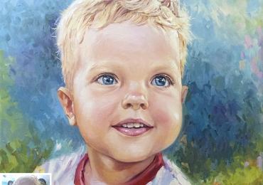 Portret cu copii, portret  impresionist pictat la comanda, portrete bust, portret dupa fotografie, portret de copil dupa poza