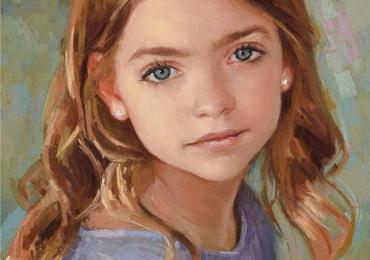Portret cu copii, portret pictat la comanda, portrete fetita bust, portret dupa fotografie, portret de copil dupa poza