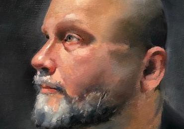 Portret de baarbat cu chelie, portret de barbat cu barba grizonata, Cadouri barbati, portrete la comanda, Tablouri pictate cu rama sau fara rama
