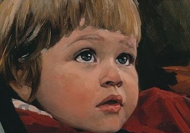 Portret  de baietel la comanda pictat manual in ulei pe panza. Portret bust