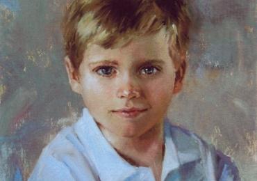 Portret de baietel, portret elegant cu copii, portret pictat la comanda, portrete bust, portret dupa fotografie, portret de copil dupa poza