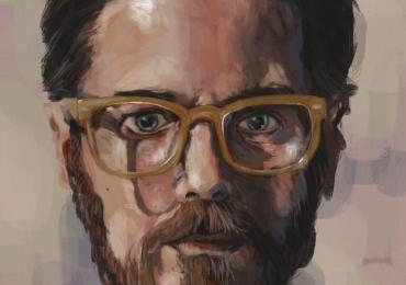 Portret de barbat cu ochelari, Cadouri personalizate, portrete la comanda, Tablouri pictate manual pe panza