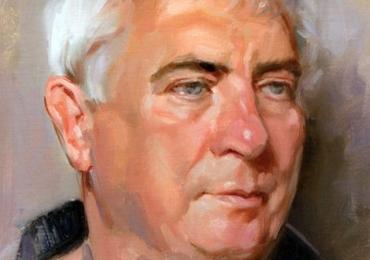 Portret de barbat cu parul carunt, tablou pictat manual in ulei pe panza, portret