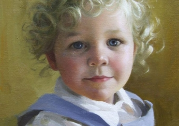 Portret de copil cu parul carliontat, portret pictat la comanda, portrete bust, portret dupa fotografie, portret de copil dupa poza