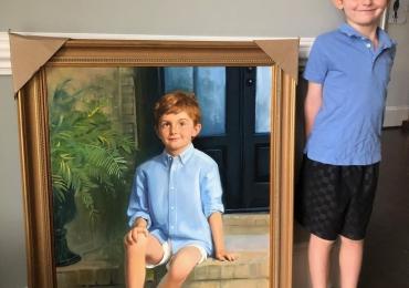 Portret de copil la comanda, pictat manual