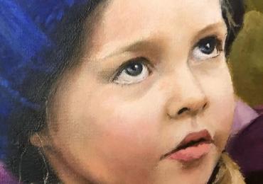 Portret de copil la comanda, tablou pictat manual in ulei pe panza