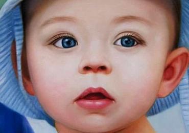 Portret de copilas cu pararie albastra, Comanda tablou cu imaginea ta, portrete la comanda, Tablouri pictate portrete,