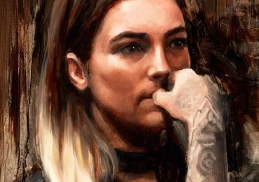 Portret de fata cu tatuaj pe mana. Tablou portret pictat manual in ulei pe panza.