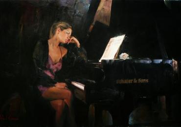 Portret de femeie asezata langa pian. Portrete figurative. Portret la comanda.