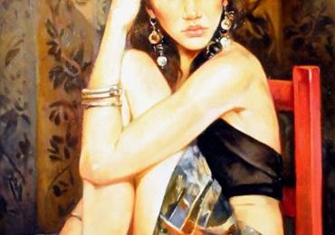 Portret de femeie asezata pe un scaun rosu. Portrete figurative. Portret la comanda
