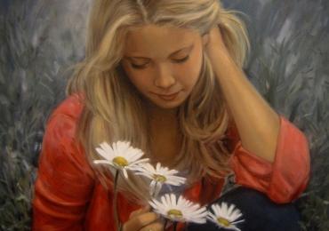 Portret de femeie bloda cu margarete. Portrete figurative. Portret la comanda