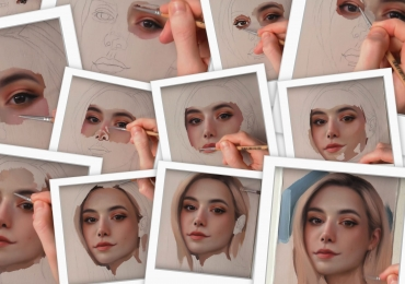 Portret de femeie blonda, tablou la comanda, pictat manual