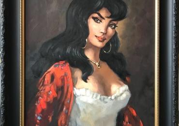 Tablou portret de femeie pictat in ulei pe panza, inramat, dimensiune 62x51cm.