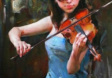 Portret de femeie care canta la vioara. Portrete figurative. Portret la comanda