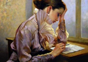 Portret de femeie care scrie o scrisoare. Portrete figurative. Portret la comanda
