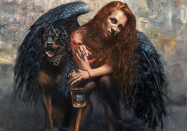 Portret de femeie cu aripi de demon. Portrete figurative. Portret la comanda