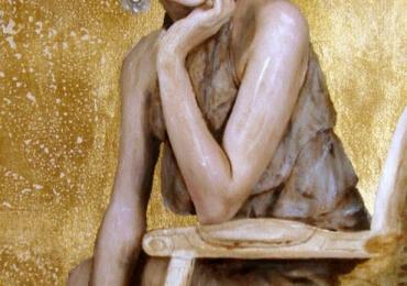 Portret de femeie cu aur. Portrete figurative. Portret la comanda. Portret bust